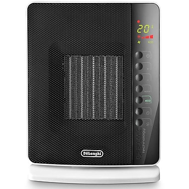 DeLonghi DCH7093ER Flat Panel Compact Ceramic Heater, Black/White