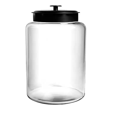 Anchor Hocking® 2.5 gal Glass Montana Jar With Black Lid, Clear