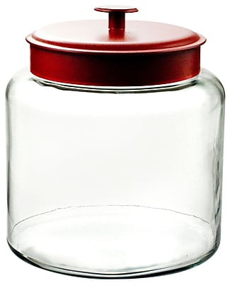Image of Anchor Hocking 1.5 gal Glass Montana Jar With Red Lid, Clear