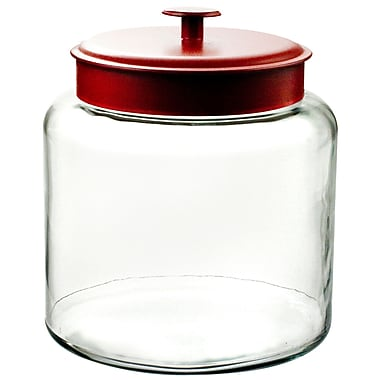 Anchor Hocking® 1.5 gal Glass Montana Jar With Red Lid, Clear