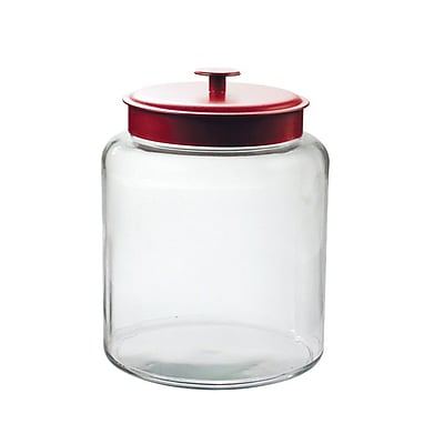 Image of Anchor Hocking 2 gal Glass Montana Jar With Red Lid, Clear
