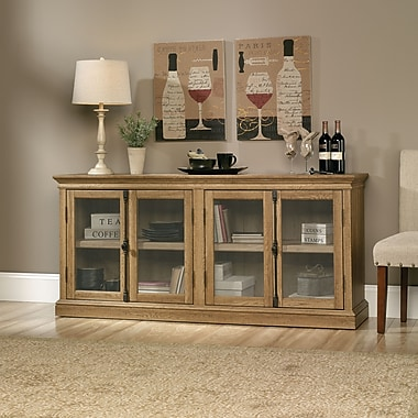 Sauder Barrister Lane Storage Credenza, Scribed Oak
