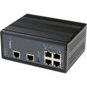 StarTech 6 Port Unmanaged Industrial Gigabit Ethernet Switch With 4 PoE+ Port, Black