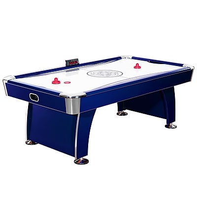 Hathaway™ Phantom 7.5' Air Hockey Table With Electronic Scoring, Dark Blue/Silver