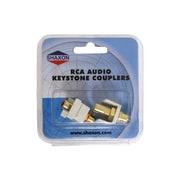Shaxon Female to Female Stereo Keystone White/Red RCA Connector Kit, White