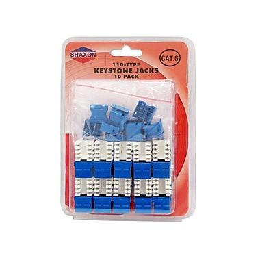 Shaxon Category 6 RJ45/110 568A/B Keystone Jack, Blue, 10/Pack