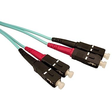 Shaxon 16.4' SC to SC 50/125 Multimode Duplex 10 Gigabit Fiber Optic Patch Cord, Aqua