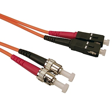 Shaxon 3.3' ST to SC 62.5/125 Multimode Duplex Fiber Optic Patch Cord, Orange