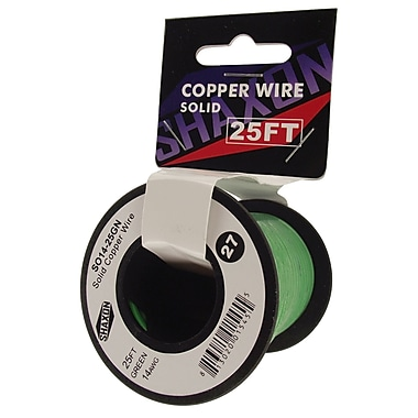 Shaxon 25' Solid Copper 14 AWG Wire On Spool, Green
