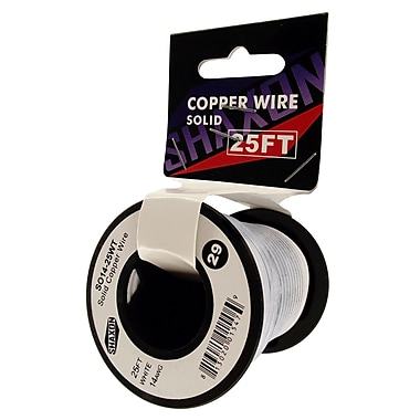 Shaxon 25' Solid Copper 14 AWG Wire On Spool, White