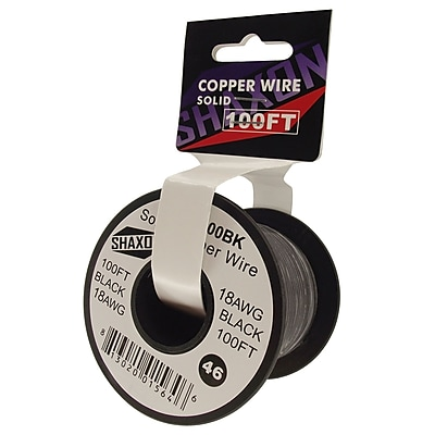 Shaxon 100' Solid Copper 18 AWG Wire On Spool, Black