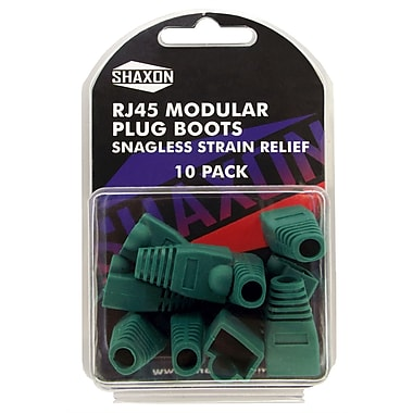 Shaxon Snagless Molded Look Strain Relief Boot For RJ45 Plug, Green, 10/Pack
