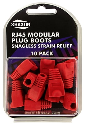Shaxon Snagless Molded Look Strain Relief Boot For RJ45 Plug, Red, 10/Pack