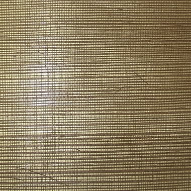 Inspired By Color™ Grasscloth Sisal Twil Wallpaper, Gold Metallic With Brown Sisal