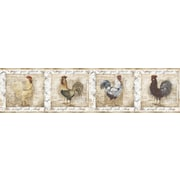 Inspired By Color™ Borders Rooster Wallpaper, White With Brown