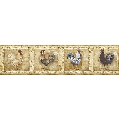 Inspired By Color™ Borders Rooster Wallpaper, Brown With Yellow