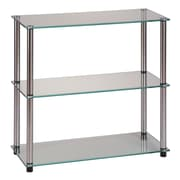 "Convenience Concepts 3-Shelf 26.5"" Classic Tempered Glass and Stainless Steel Bookcase, Clear Glass (157002)"