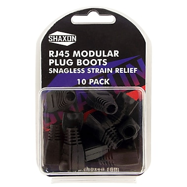 Shaxon Snagless Molded Look Strain Relief Boot For RJ45 Plug, Black, 10/Pack