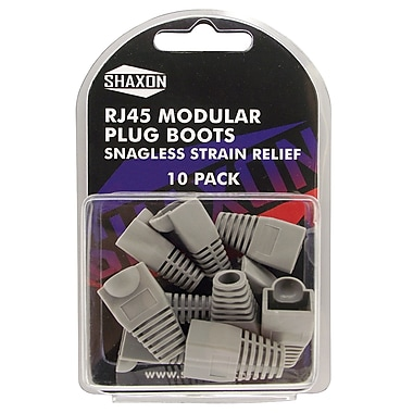Shaxon Snagless Molded Look Strain Relief Boot For RJ45 Plug, Gray, 10/Pack