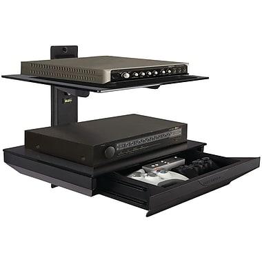 Atlantic® 38435891 Two Tier AV Component Shelf With Drawer, Black