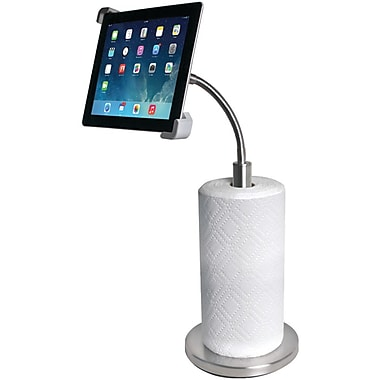CTA® Gooseneck Stand With Paper Towel Holder For iPad and Tablets