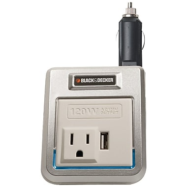 Black & Decker® PI120P 120 W Power Inverter With USB Outlet, 120 VAC Output