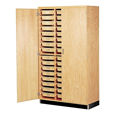 DWI Epoxy, Oak Wood Tote Tray Storage Cabinet 84