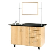 """DWI Oak Wood Demonstration Center with Sink and Fixtures 36""""H x 54""""W x 30""""D"""