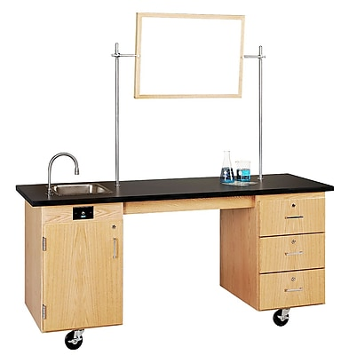 DWI Oak Wood ADA Compatible Mobile Lab Station 33