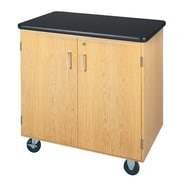 DWI Mobile Storage Solid Oak Wood Cabinet With Plastic Laminate Top