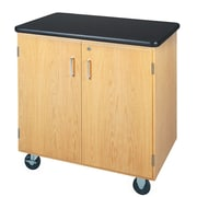 DWI Mobile Storage Solid Oak Wood Cabinet With ChemGuard Top