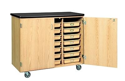DWI Mobile Tote Tray  Laminate, Oak Wood Storage Cabinet