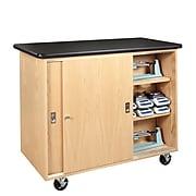 DWI Mobile Balance Storage Cabinet Solid Oak and Oak Veneers Storage Cabinet