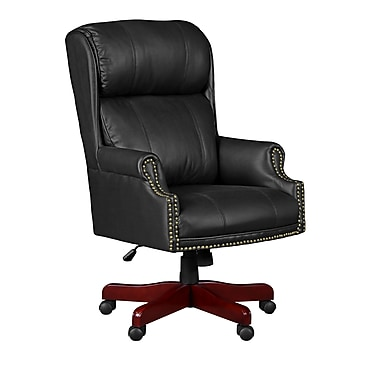 Regency Seating Barrington Judge's Style Leather/Wood Managerial Chair, Fixed Arm, Black (9099LBK)