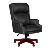 Regency Seating Barrington Judge's Style Leather/Wood Managerial Chair, Fixed Arm, Black