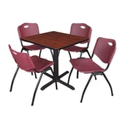 """Regency Seating Cain 3o"""" Square Table- Cherry w/ 4 'M' Stack Chairs- Burgundy"""