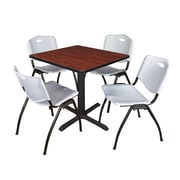 """Regency Seating Cain 3o"""" Square Table- Cherry w/ 4 'M' Stack Chairs- Grey"""