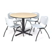 "Regency Seating Cain 3o"" Round Table- Beige w/ 4 'M' Stack Chairs- Grey"