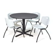 "Regency Seating Cain 3o"" Round Table- Grey w/ 4 'M' Stack Chairs- Grey"