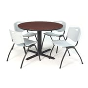 "Regency Seating Cain 3o"" Round Table- Mahogany w/ 4 'M' Stack Chairs- Grey"