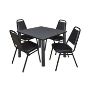"""Regency Seating Black Kee 42"""" Square Table- Grey w/ 4 Resturant Stack Chairs"""