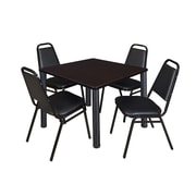 """Regency Seating Black Kee 42"""" Square Table- Mocha Walnut w/ 4 Resturant Stack Chairs"""
