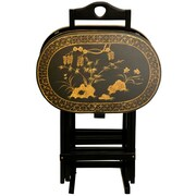 Oriental Furniture Lacquer TV Tray Set w/ Stand