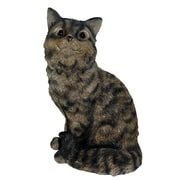Michael Carr Cat Sitting Up Statue; Tiger Gray
