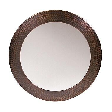 The Copper Factory Round Mirror; Antique Copper