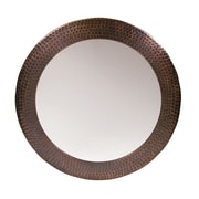 The Copper Factory Round Mirror; Antique Copper