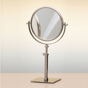Windisch by Nameeks Double Face Pedestal Magnifying Mirror; Satin Nickel