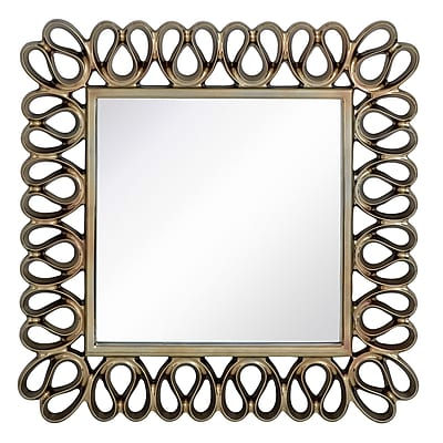 Majestic Mirror Stylish Contemporary Square Pewter Framed Glass Hanging Wall Mirror WYF078276229425