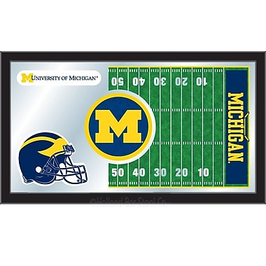 Holland Bar Stool NCAA Football Mirror Framed Graphic Art; Michigan
