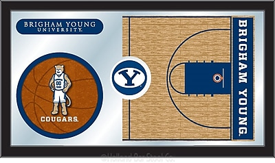 Holland Bar Stool NCAA Basketball Mirror Framed Graphic Art; Brigham Young